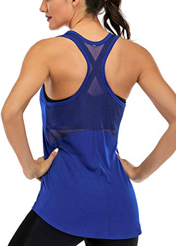 Fihapyli Workout Tank Tops for Women Sleeveless Yoga Tops for Women Mesh Back Tops Racerback Muscle Tank Tops Workout Tops for Women Backless Gym Tops Running Tank Tops Activewear Tops Blue S
