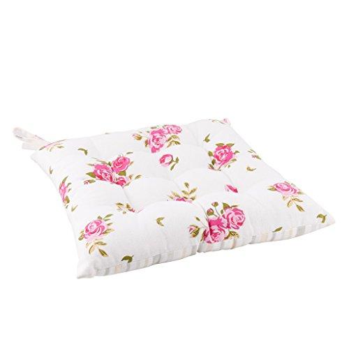 Dibor Cojín para Silla de Comedor, diseño Floral, Color Rosa y Blanco