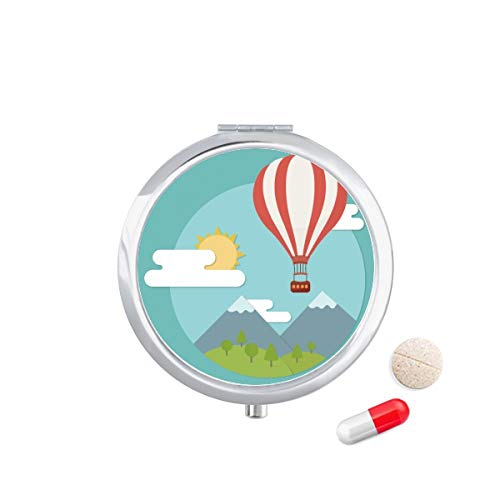 DIYthinker Hot Air Ballon zon wolk patroon Travel Pocket Pill Case Medicine Drug Opbergdoos Dispenser Spiegel Gift