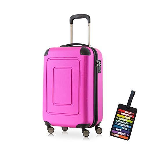 Happy Trolley - Handgepäck Hartschalen-Koffer Koffer Trolley Rollkoffer Reisekoffer Lugano, sehr leicht, TSA, 55 cm, 40L, Pink + HT...