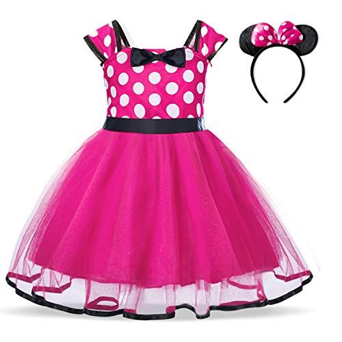 TTYAOVO Bebé Niñas Lunares Princesa Tutú Vestido Cosplay Desfile Carnaval Disfraz Elegante Tamaño90 (1-2 años) 321 Rosa Rojo