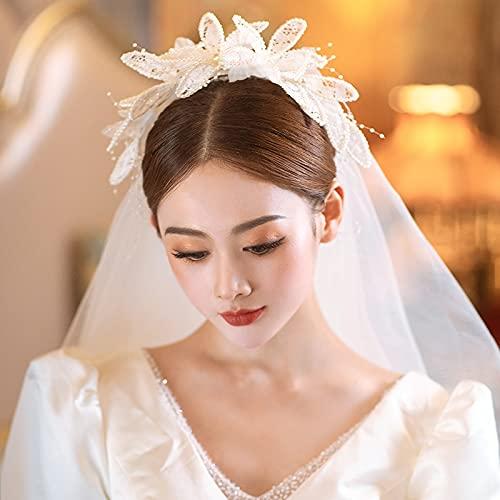 Hwjmy Sen System - Hilo de cabeza de boda para novia, diseño romántico de encaje corto, accesorios laterales de onda (color - pendientes de cuentos, guantes, tamaño: 80 cm 100 cm)