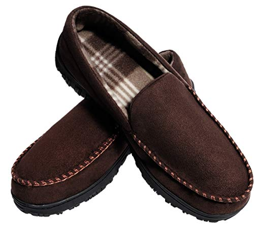 MIXIN Mens Slippers Size 9, Brown Slippers for Men Moccasin House Shoes with Cozy Memory Foam