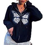 Sudaderas vintage recortadas para mujer Y2K con cremallera completa oversize Chaquetas con bolsillos E-Girl 90s Streetwear