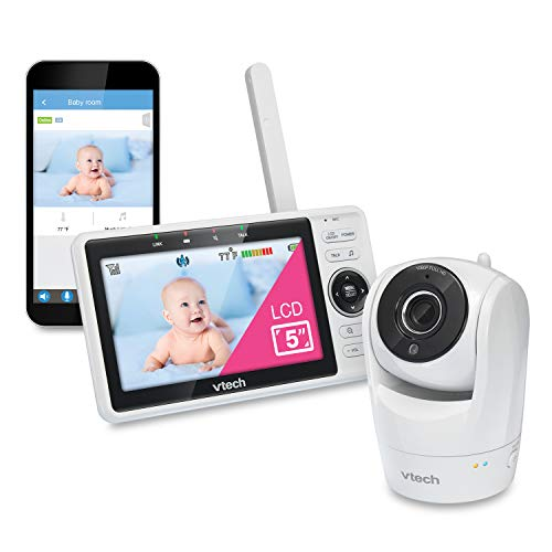 VTech VM901 WiFi Video Baby Monitor with Free Live Remote Access, 1080p Full HD Camera, 5' Screen, Pan Tilt Zoom, HD Night Vision, 2-Way Audio Talk, Motion & Temperature Alert, Work with iOS, Android