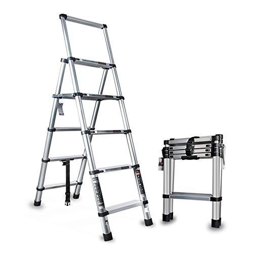 Scale telescopiche Folding Ladder 330 Pound Capacity Scala telescopica in Alluminio Extension Ladder Allungabile Pieghevole Leggero (Color : Silver, Size : 200cm)