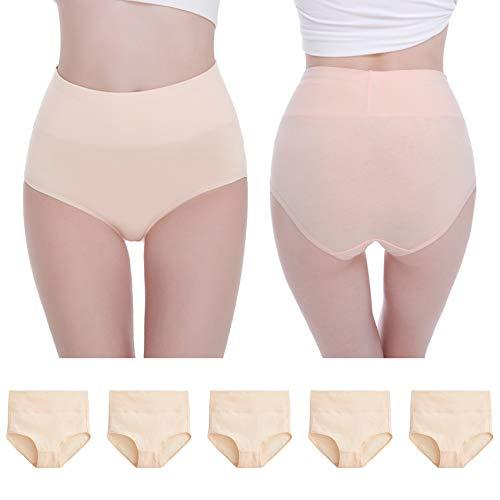 NUOZA Unterhosen Damen 5er Pack Unterwäsche Slip Pantys Mehrpack Baumwolle-Hautfarbe-XL