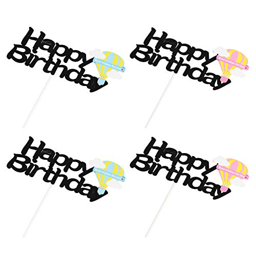 ABOOFAN 4pcs Happy Birthday Cake Toppers Glitter Cupcake Topper Ballon Mermaid Coconut tree Cupcake Picks Hawaii Birthday Party Supplies Favors