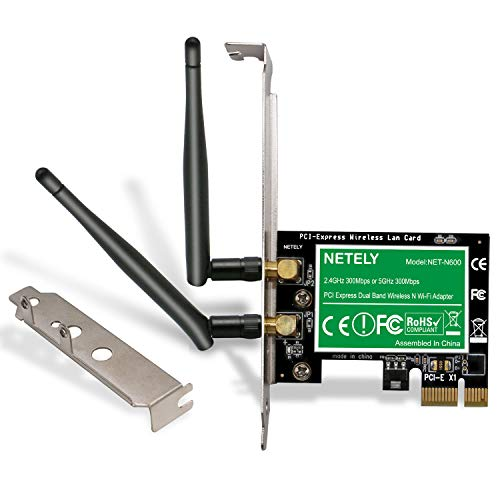 NETELY Wireless N Dual Band N600 2-Stream PCI Express(PCI-E Wi-Fi Adapter for PCs or Working Stations-PCIE Wi-Fi Card-PCIE Wi-Fi Adapter-Qualcomm Atheros Wireless Network Adapter (NET-N600)