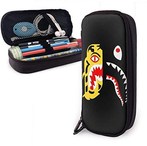 Ba-pe S-Hark Bleistiftetui - Hochleistungs-Bleistiftbeutel aus PU-Leder mit doppeltem Reißverschluss Schreibwaren Organizer Multifunktions-Kosmetik-Make-up-Tasche