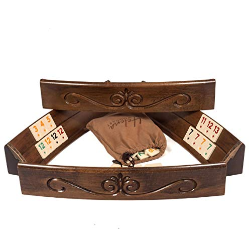 Hand Carved Elliptic Rummy Game Set - Oval Wooden Rummy Game Set