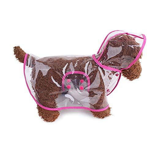 VORCOOL Hund Regenmantel mit Kapuze Poncho Transparenter Regenmantel Haustier Hund Regenbekleidung Kleidung für Kleine Hunde wasserdichte Welpen Katzen Haustiere Rosig L