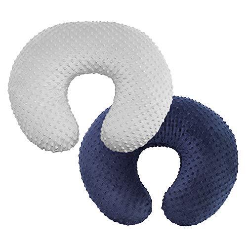 Owlowla 2Pack Nursing Pillow Cover Grey&Navy Nursing Pillow Covers Set Breastfeeding Pillow Slipcover Fits Naked Nursing Pillow for Baby Boy Girl(Silver Gray/Navy)