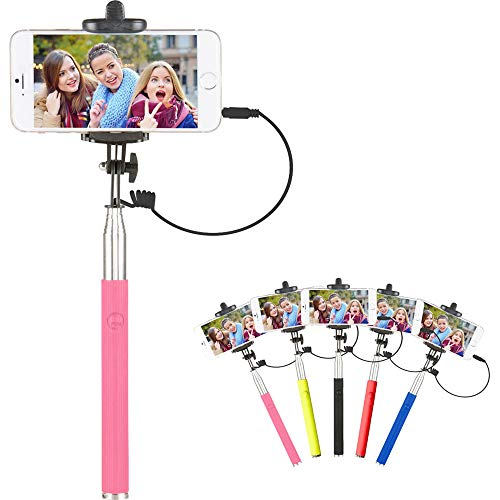 Vivitar 42' Selfie Stick with Built-in Shutter Release and Folding Clamp, Pink