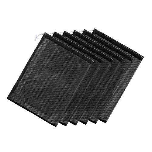 YCYUYK Mesh Stuff Sack - Bolsa de lavandería con cordón para enjuagar (6 unidades), color negro