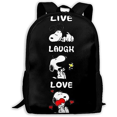 wobuzhidaoshamingzi Lässiger Rucksack - Stilvolle Live Laugh Love Sn_oopy Print Reißverschluss Schultasche Travel Daypack Rucksack