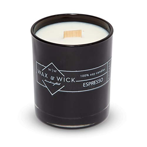 Scented Soy Candle: 100% Pure Soy Wax with Wood Double Wick | Burns Cleanly up to 60 Hrs | Espresso Scent - Notes of Dark Roasted Coffee and Chocolate. | 12 oz Black Glass Jar by Wax and Wick