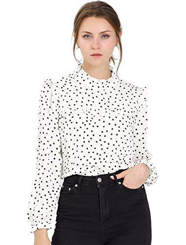 Allegra K Damen Langarm Rundhals Panel Ruffle Polka Dots Top Bluse Weiß L