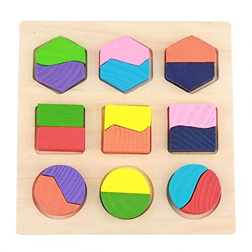 Fdit Socialme-EU Juguete Geométrico Educativo Infantil de Madera Puzzle Juguetes Bloques de Construcción Geométrico Edificio Juguete de Conocer Figuras Colores Primera Infancia para Niños y Bebé(# 2)