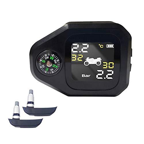 Fesjoy Sistema de monitoreo de presion en Llantas, Sistema de monitoreo de presión de neumáticos de Motocicleta 2 en 1 Monitor LCD Inteligente en Tiempo Real con C-ompass