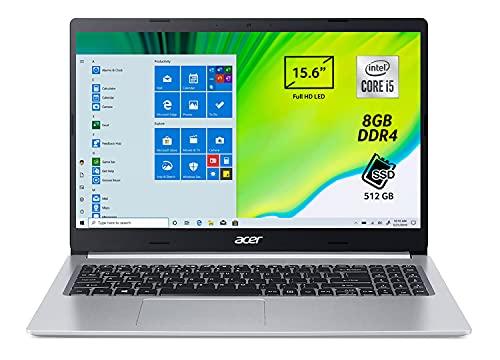 Acer Aspire 5 A515-55-509R Pc Portatile, Notebook con Processore Intel Core i5-1035G1, Ram 8 GB DDR4, 512 GB PCIe NVMe SSD, Display 15.6' FHD LED LCD, Intel UHD, Windows 10 Home, Silver