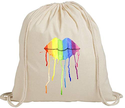 Sexy Lips Rainbow Face Cute Women Men Ecoamigable con el medio ambiente de la compra, bolsa de almacenamiento de viaje gimnasio de algodón con cordón