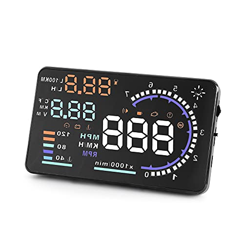 A8 HUD Head up Display Speedometer for Car with OBDII EUOBD ,5.5 inch Universal Digital Speedometer,Over Speed Alarm, KMH/MPH, Windshield Projector with Film