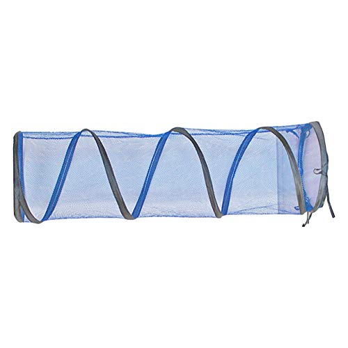 Wishwin Cat Tunnel Toy Folded Outdoor Cat Playground Tent Collapsible Zipper Design Breathable Mesh Blue