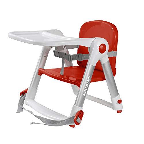 APRAMO FLIPPA Elevador de Siento de Silla Portátil Trona Alzador Plegable de Silla para Bebé Comer Alimentar con Bandeja Extraíble (Rojo)