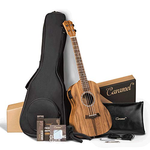 Caramel CT207 Acacia Tenor Acoustic & Electric Ukulele with Additional Strings, Padded Gig Bag, Strap and EQ cable