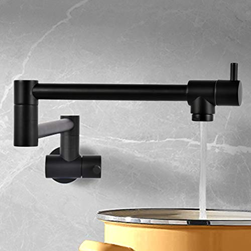 VALISY Lead-Free Solid Brass Single Hole Two Handle Matte Black Wall Mount Pot Filler Faucet,Copper Faucets for Kitchen Sink & Stove Folding Stretchable with 360° Swivel Double Joint Swing Arm