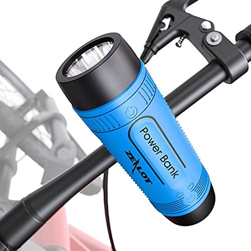 Zealot S1, kabelloser Bluetooth-Lautsprecher, 24 St&en Akku, tragbar, Bluetooth, 10 W, wasserdicht, TWS, Lautsprecher für Fahrrad, LED-Licht, Fahrradhalterung (blau)