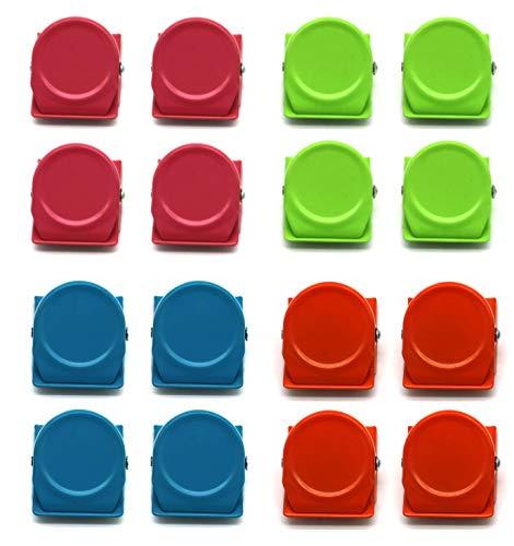 16 Stücke Metall Magnetische Clips Magnetclips Magnetklammer Magnetklammern Stark, Kühlschrankmagnete Klammer für Whiteboard Wandnotiz Magnetische Binder Ordner Küche