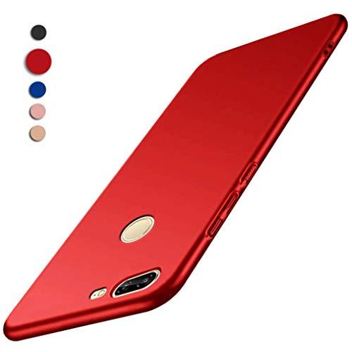 Cover Honor 9 Lite, Yoowei® Custodia Honor 9 Lite in Plastica Dura Alta Qualità [Ultra Sottile] [Pieno Bordo Protezione] PC Shell Duro Retro Cover per Honor 9 Lite Smartphone, Tocco liscio - Rosso