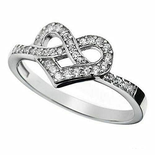 Vorra Fashion Anillo de compromiso de corazón de Promise para niñas de corte redondo de diamante simulado de plata de ley 925, zafiro sintético,