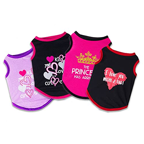 Dog Clothes for Small Medium Dogs Girl Sebaoyu Puppy Shirts Cute Dog Outfit Clothing Pet Cat Female Clothes for Ropa para Perros Yorkie Teacup Chihuahua French Bulldog Black 4 Pieces (XL)