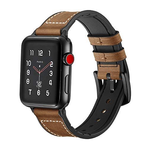 SUPERSUN para Correa Apple Watch 42mm, Cuero Correa iwatch Silicona Reemplazo de Banda para Apple Watch Series 4 44mm, Series 3/Series 2/Series 1, Marrón
