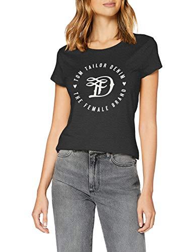 TOM TAILOR Denim Damen Basic Logo Tee T Shirt, 10522 - Shale Grey Melange, M EU