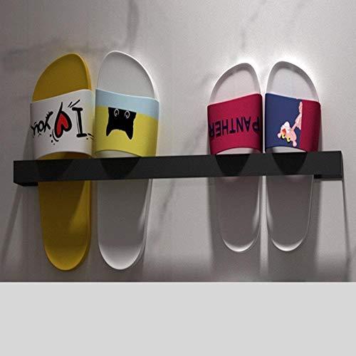 Zapateros Zapatos Estantería Zapatillas de acero inoxidable del sostenedor del estante montado en la pared que cuelga los zapatos de almacenamiento de baño Organizador Negro uñas de color pegamento li