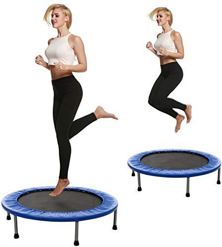 S-Chihir Trampolin Aus Stahlrohr - Fitness Sport Trampolin Faltbar Gartentrampolin Bis 150 Kg Jump Trampolin Garten/Indoor Ausdauertraining Trampolin (Color : Blau)