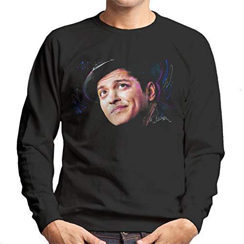 VINTRO Bruno Mars Hat Herren Sweatshirt Original Portrait by Sidney Maurer Professionell Bedruckt Gr. XXL, Jet Black