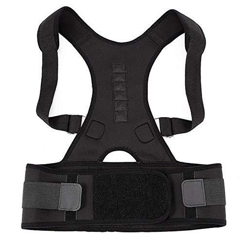 ANGOU Magnetic Belt for Back Shoulder Band Belt Support Brace Scoliosis Posture Corrector Belt Corset Plus Size Pain Relief Men-Black_XL