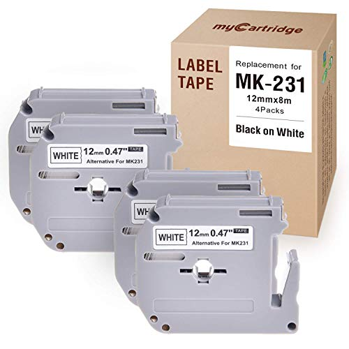 myCartridge M231 M Tape 12mm Compatible with Brother P-Touch MK231 M-K231 Black On White, 4-Pack for Brother for PT-M95, Pt-70BM, Pt-90, Pt-65, Pt-70, Pt-70Sr, Pt-85 Label Maker, 0.47In x 26.2ft
