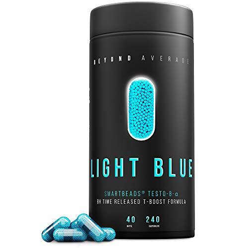 Beyond Average LIGHT BLUE | Time-Released 24h* T-Boost | 240 Smartbeads ® Testo-B-Alpha Kapseln | Laborgeprüft | Entwickelt u. Hergestellt in Deutschland | Die neue Supplement-Generation