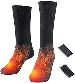 XiaoG, XiaoG Calcetines deportivos para hombre, de algodón, térmicos, con calefacción, para deporte, para invierno, calentadores de pies, calentamiento, con batería, para hombres y mujeres (color: negro)