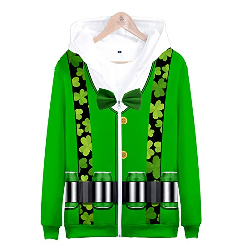 SUIWO Grüner Hoodie Pullover Sweatshirts Irischer Nationaltag St Patrick Tag, Unisex,3XL