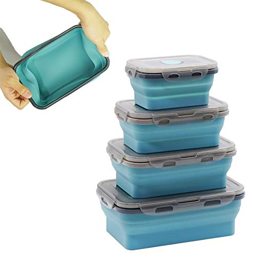 Alyssa Frischhaltedosen-Set, 4 PCS Faltbare Silikon Brotbox Bento Lunchbox Boxen, Zusammenklappbare Lebensmittel-Lagerbehälter aus Silikon, Mikrowellen und Gefrierschrankgeeignet, BPA-frei luftdicht