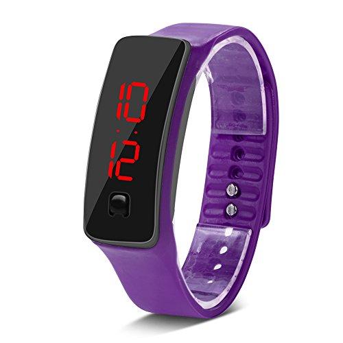 EFFACER Reloj de Pulsera LED, rectángulo Ajustable 22,5 x 1,5 cm Reloj Digital Deportivo con Ahorro de energía para Uso Informal para Correr de Noche(Purple)