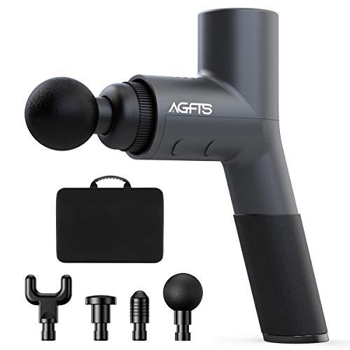 iAGFTS Massagepistole für Nacken Schulter Rücken Massage Gun Massagegerät Elektrisch Entspannen mit 4 Massageköpfen und 5 Geschwindigkeiten Vibrationsgerät Muskel, Super Silent