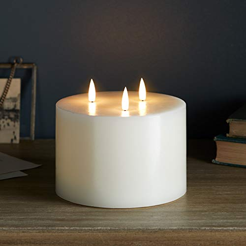 Lights4fun 3 Wick TruGlow Large Battery LED Flameless Pillar Candle Real Ivory Wax Timer 10cm